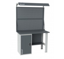 Верстак SMART 1280.1.S1.0.d2, стол верстак слесарный металлический с экраном и тумба с дверцей, 1280 мм, ДВК