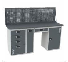 Верстак SMART 1760.4.P.Y.1.d, стол верстак слесарный металлический с экраном и тумбой с 4 ящиками с тумбой и тумбой с дверцей, 1760 мм, ДВК, IRON