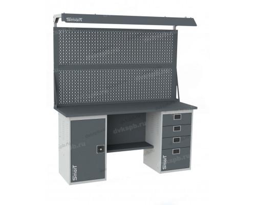 Верстак SMART 1760.1.S2.4.d2, стол верстак слесарный металлический с экраном и тумбой с дверцей с тумбой с 4 ящиками, 1760 мм, ДВК