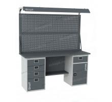Верстак SMART 1760.4.S2.1-1.d2, стол верстак слесарный металлический с экраном и тумбой с 4 ящиками с тумбой с ящиком, 1760 мм, ДВК