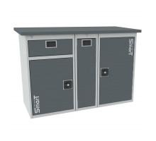Верстак SMART 1280.1-1.P.1, стол верстак слесарный металлический с тумбой с ящиком с тумбой с тумбой с дверцей, 1280 мм, ДВК