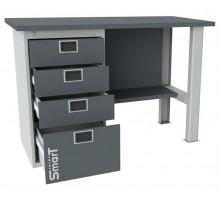 Верстак SMART 1280.4.S1.0, стол верстак слесарный металлический с тумбой с 4 ящиками, 1280 мм, ДВК