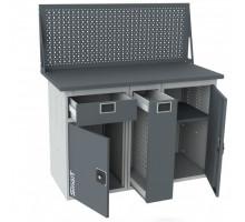 Верстак SMART 1280.1-1.P.1.d, стол верстак слесарный металлический с экраном и тумбой с ящиком с тумбой с тумбой с дверцей, 1280 мм, ДВК