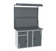 Верстак SMART 1280.1-1.P.1.d2, стол верстак слесарный металлический с экраном и тумбой с ящиком с тумбой с тумбой с дверцей, 1280 мм, ДВК