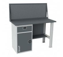 Верстак SMART 1280.1-1.S1.0.d, стол верстак слесарный металлический с  экраном и тумбой с ящиком, 1280 мм, ДВК