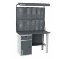 Верстак SMART 1280.1-1.S1.0.d2, стол верстак слесарный металлический с  экраном и тумбой с ящиком, 1280 мм, ДВК
