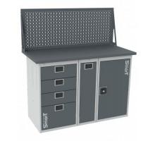 Верстак SMART 1280.4.P.1.d, стол верстак слесарный металлический с экраном и тумбой с 4 ящиками с тумбой с тумбой с дверцей, 1280 мм, ДВК