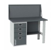 Верстак SMART 1280.4.S1.0.d, стол верстак слесарный металлический с экраном и тумбой с 4 ящиками, 1280 мм, ДВК