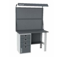 Верстак SMART 1280.4.S1.0.d2, стол верстак слесарный металлический с экраном и тумбой с 4 ящиками, 1280 мм, ДВК