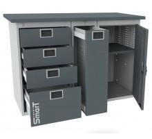 Верстак SMART 1280.4.P.1, стол верстак слесарный металлический с тумбой с 4 ящиками с тумбой с тумбой с дверцей, 1280 мм, ДВК