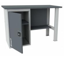 Верстак SMART 1280.1.S1.0, стол верстак слесарный металлический с тумбой с дверцей, 1280 мм, ДВК