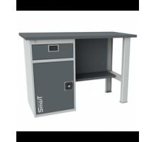 Верстак SMART 1280.1-1.S1.0, стол верстак слесарный металлический с тумбой с ящиком, 1280 мм, ДВК