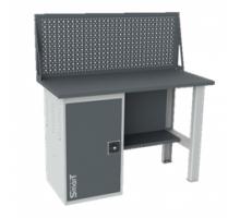 Верстак SMART 1280.1.S1.0.d, стол верстак слесарный металлический с экраном и тумба с дверцей, 1280 мм, ДВК