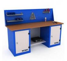 Верстак WOKER WB 2000.121, стол верстак слесарный металлический с экраном и тумба с дверцей и тумба с дверцей, 2000 мм, ДВК, IRON