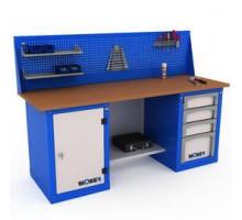 Верстак WOKER WB 2000.124, стол верстак слесарный металлический с экраном и тумба с дверцей и тумба с 4 яшиками, 2000 мм, ДВК, IRON