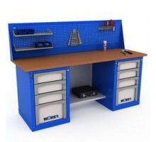 Верстак WOKER WB 2000.424, стол верстак слесарный металлический с экраном и тумба с 4 яшиками и тумба с 4 яшиками, 2000 мм, ДВК, IRON