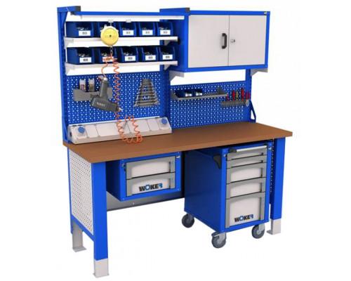 Рабочее место WOKER №1, стол верстак слесарный металлический с экраном и тумба с 2 ящиками и тумба с 5 яшиками, 2000 мм, ДВК, IRON