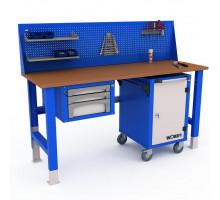 Верстак WOKER WTSR 2000 №2, стол верстак слесарный металлический с экраном и тумба с 3 яшиками и тумба с дверцей, 2000 мм, ДВК, IRON