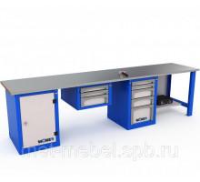 Верстак WOKER WB 3200 №1, стол верстак слесарный металлический и тумбами с 4-я и 5-ю ящиками, 3200 мм, ДВК, IRON