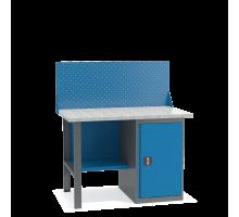 Верстак слесарный ВТ-1.2 с экраном, металлический с тумбой, 1200 мм, Металл Завод