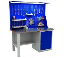 Стол верстак слесарный металлический с экраном и тумбой с дверцей, 1600 мм, серия EXPERT, Промет (№608) WTH160.WS1/F2.021