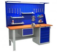Стол верстак слесарный металлический с экраном с тумбой и ящиком, 2000 мм, серия EXPERT, Промет (№223) W200.F2/WS6.121