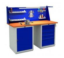 Стол верстак слесарный металлический с экраном и двумя тумбами, 1600 мм, серия EXPERT, Промет (№605) W160.WS1/WS6.011