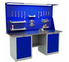 Стол верстак слесарный металлический с экраном и двумя тумбами, 2000 мм, серия EXPERT, Промет (№224) WTH200.WS1/WS1.021