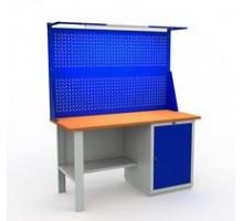 Стол верстак слесарный металлический с тумбой и дверцей, 1600 мм, Практик EXPERT W160.WS1/F2.021