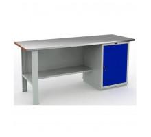 Стол верстак слесарный металлический с тумбой и дверцей, 2000 мм, Практик EXPERT WTS-200.F2.WS1.000