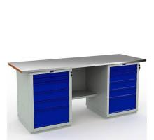 Стол верстак слесарный металлический с тумбой и 6 ящиками и с тумбой и 6 ящиками, 2000 мм, Промет EXPERT WS WTH-200+WS-6+WS-6