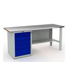 Стол верстак слесарный металлический с тубой с 6 ящиками, 2000 мм, Промет EXPERT WTS-200.F2.WS6.000