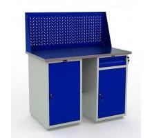 Стол верстак слесарный металлический с экраном с тумбой и дверцей и с тумбой и ящиком,1200 мм, Практик PROFI WT120.WD2.WD1.010