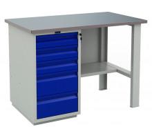 Стол верстак слесарный металлический с тумбой с 5-ю ящиками, 1200 мм, серия PROFI, Промет (№202) WT120.WD5/F1.000