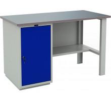 Стол верстак слесарный металлический с тумбой с дверцей, 1400 мм, серия PROFI, Промет (№400) WT140.WD1/F1.000