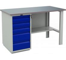 Стол верстак слесарный металлический с тумбой с 5-ю ящиками, 1400 мм, серия PROFI, Промет (№401) WT140.WD5/F1.000