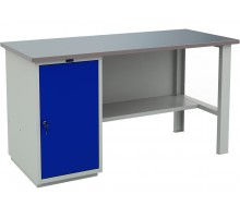 Стол верстак слесарный металлический с тумбой с дверцей, 1600 мм, серия PROFI, Промет (№600) WT160.WD1/F1.000