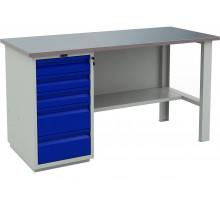 Стол верстак слесарный металлический с тумбой с 5-ю ящиками, 1600 мм, серия PROFI, Промет (№601) WT160.WD5/F1.000