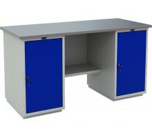 Стол верстак слесарный металлический с двумя тумбами, 1600 мм, серия PROFI, Промет (№602) WT160.WD1/WD1.000