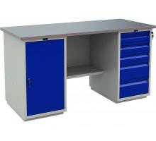 Стол верстак слесарный металлический с двумя тумбами, 1600 мм, серия PROFI, Промет (№603) WT160.WD1/WD5.000