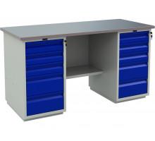 Стол верстак слесарный металлический с двумя тумбами, 1600 мм, серия PROFI, Промет (№604) WT160.WD5/WD5.000