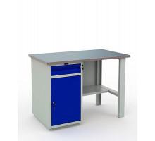 Стол верстак слесарный металлический с тумбой и ящиком, 1200 мм, Промет PROFI WT120.WD2/F1.000