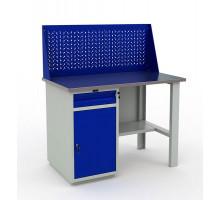 Стол верстак слесарный металлический с экраном и с тумбой и ящиком, 1200 мм, Промет PROFI WT120.WD2/F1.010