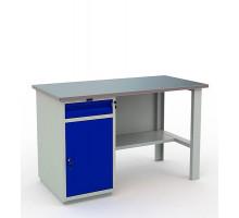 Стол верстак слесарный металлический с тумбой и ящиком, 1400 мм, Промет PROFI WT140.WD2/F1.000
