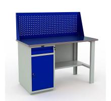 Стол верстак слесарный металлический с экраном и тумбой с ящиком и дверцей, 1400 мм, Промет PROFI WT140.WD2/F1.010
