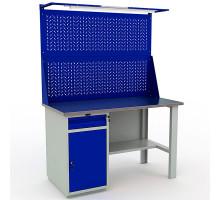 Стол верстак слесарный металлический с экраном и тумбой и ящиком, 1400 мм, Промет PROFI WT140.WD2/F1.021