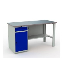 Стол верстак слесарный металлический с тумбой и ящиком, 1600 мм, Промет PROFI WT160.WD2/F1.000