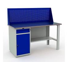 Стол верстак слесарный металлический с экраном и тумбой и ящиком, 1600 мм, Промет PROFI WT160.WD2/F1.010