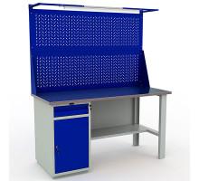 Стол верстак слесарный металлический с экраном и тумбой и ящиком, 1600 мм, Промет PROFI WT160.WD2/F1.021