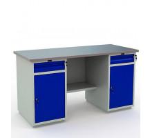 Стол верстак слесарный металлический с тумбой и ящиком с тумбой и ящиком, 1600 мм, Промет PROFI WT160.WD2/WD2.000